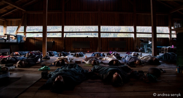 Yogis beim Savasana auf Hütte