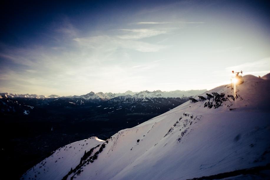 Nordkettenbahn im Sonnenuntergang